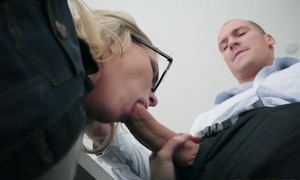 Nerdy blonde babe seduces and fucks her dad's staff member