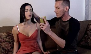 Hypno taboo. Brother kneads legs sister in a red dress